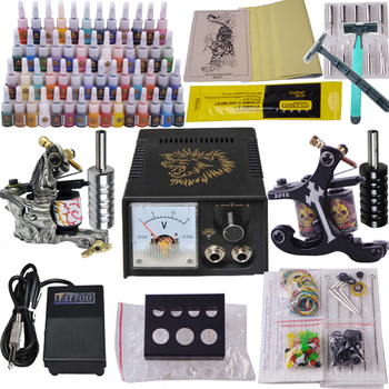 Professional Tattoo Kit 2pcs Machine Guns Shader Liner Power Supply Needles Ink Tip Tattoo Set for Starer