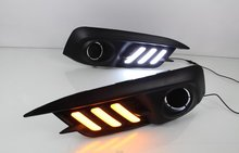 Osmrk led drl daytime running light for Honda Civic 10th 2016 2017, wireless switch control, yellow turn signal