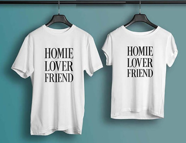 T Shirt Print Couple Clothes Tops Plus Size Tshirt Cotton Homie Lover Friend Shirts BIRTHDAY Gift