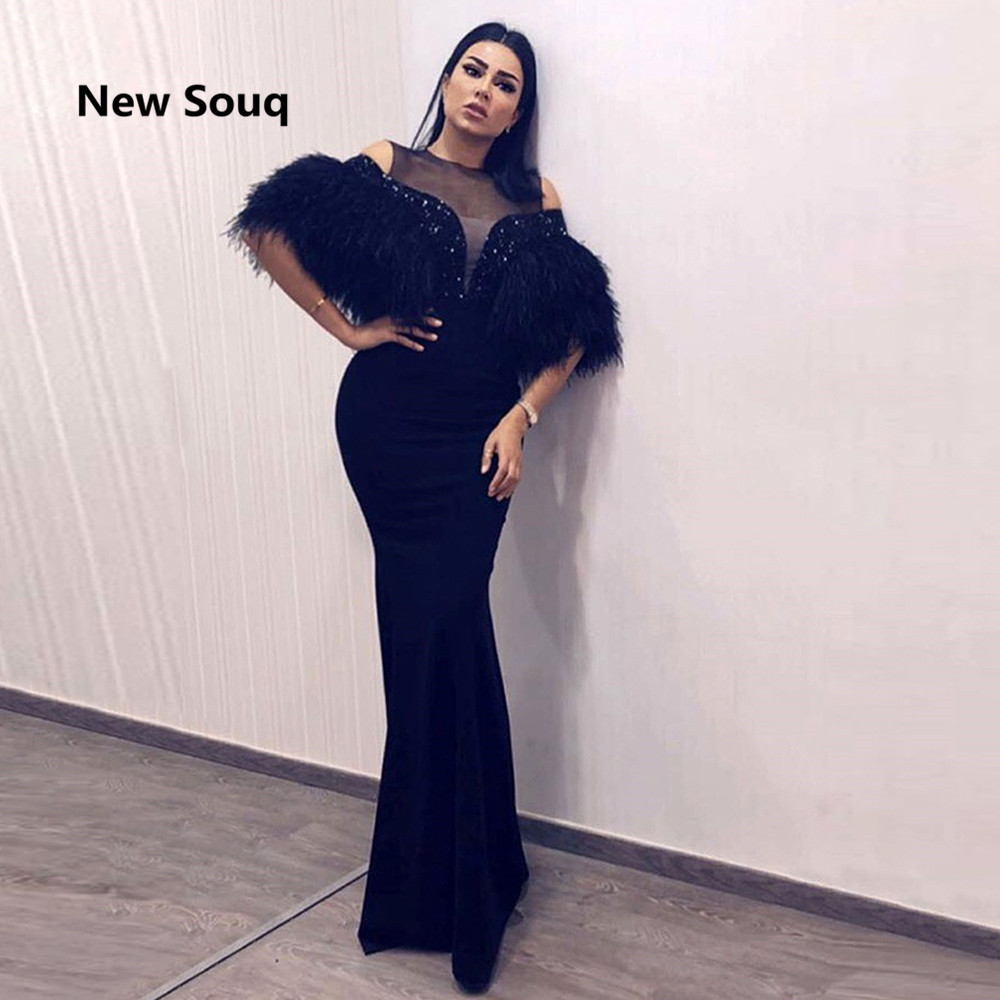 Arabic Dubai Feather Sequins Evening Dresses Sheer O Neck Half Sleeves Floor Length Mermaid Prom Dress Vestido De Fiesta