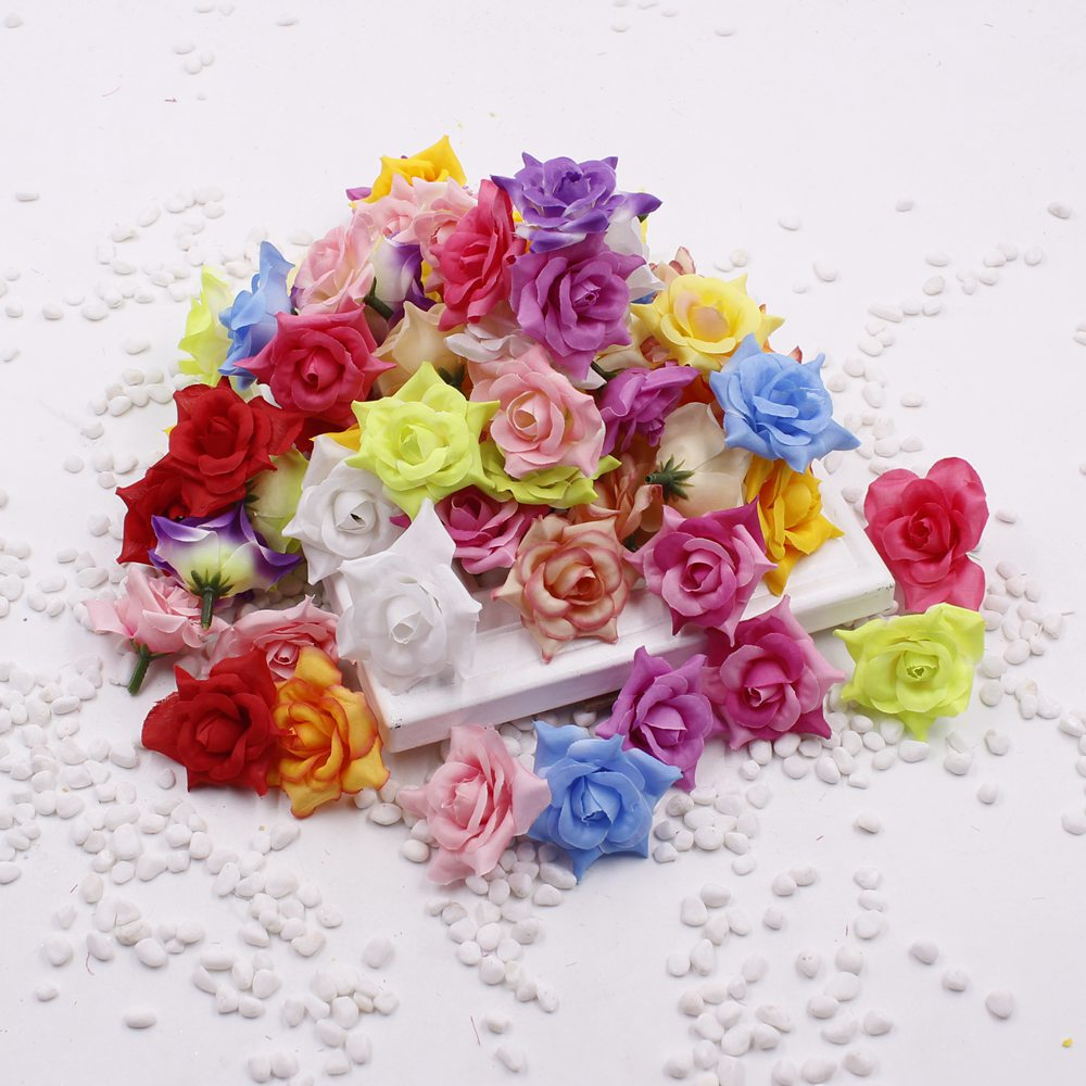 2016 Silk Rose Flower Heads 10pcs Fake Flowers 5cm Diy Bridal