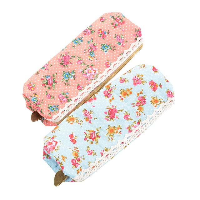 ISKYBOB hot sale Fashiong School Girls Flower Lace Floral Pencil Case Pen Bag Purse Cosmetic Makeup Pouch Bag free shipping Cosmetic Bags