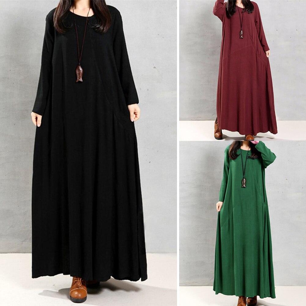 b2fcd2584a2 Vintage Women Maxi Cotton Linen Dress Solid Buttons Pockets Irregular O  Neck Long Sleeve Dresses Gown Loose Female Vestidos 5XL