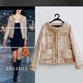 Абрикос твидовый пиджак мал ароматный ветер Бежевый жемчуг твидовый пиджак поколение жира вокруг шеи короткое пальто толще