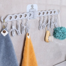 Multi-functional Bathroom Clothes Kitchen Accessories Folding Drying Rack Socks Underwear 10 Clip вешалка для одежды