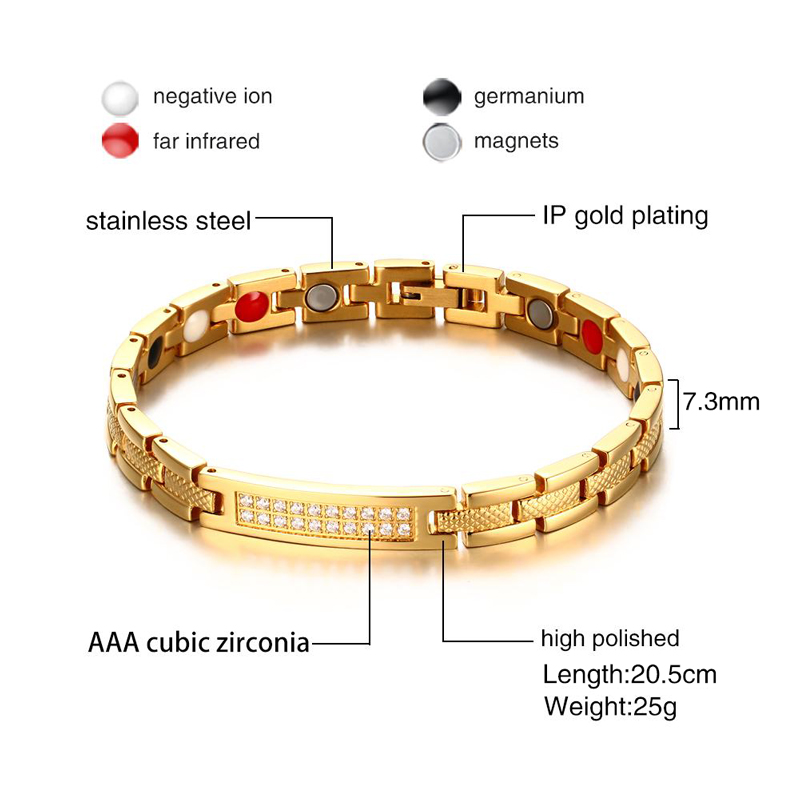 Meaeguet Women`s Cubic Zirconia Bio Magnetic Bracelet & Bangle Gold-color Powerful Health Magnet Alert Bracelets Jewelry (11)