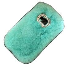 Case Pour Samsung Galaxy A3 A5 A7 2017 De Luxe Lapin Cheveux Coque Couverture De Fourrure Strass Bling Funda Carcasas Capa Dame D'hiver Peau