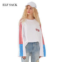 ELF SACK 2018 Spring Women Embroidery T Shirts Wmens Striped Sleeve Long Casual Tees Female O