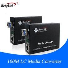 1Pair 10/100M Single Mode 1310nm/1550nm 20KM Single Fiber LC Connector Ethernet Media Converter with SFP Module