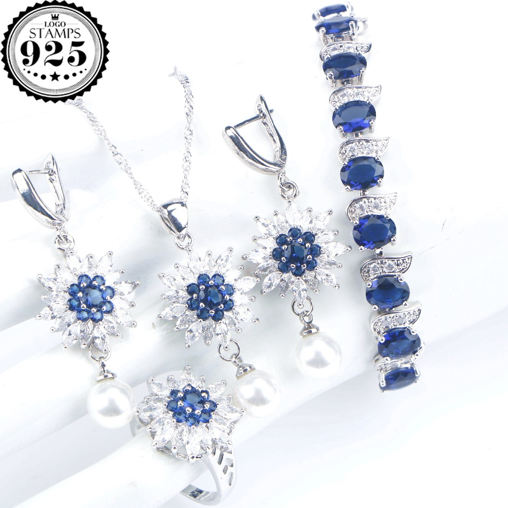 Blue Zirconia Bridal Pearls Jewelry Sets Women Wedding Silver 925 Jewelry Bracelet Earrings Ring Necklace Pendant Set Gift Box ethiopian wedding jewelry sets blue rhinestone crystal for women 925 sterling silver earrings ring pendant bridal jewelry set