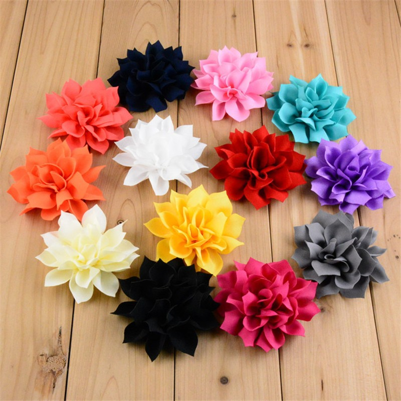 50pcs lot 13 Color U Pick 3 2 Inch Large Artificial Chiffon Fabric Lotus Flowers Wedding
