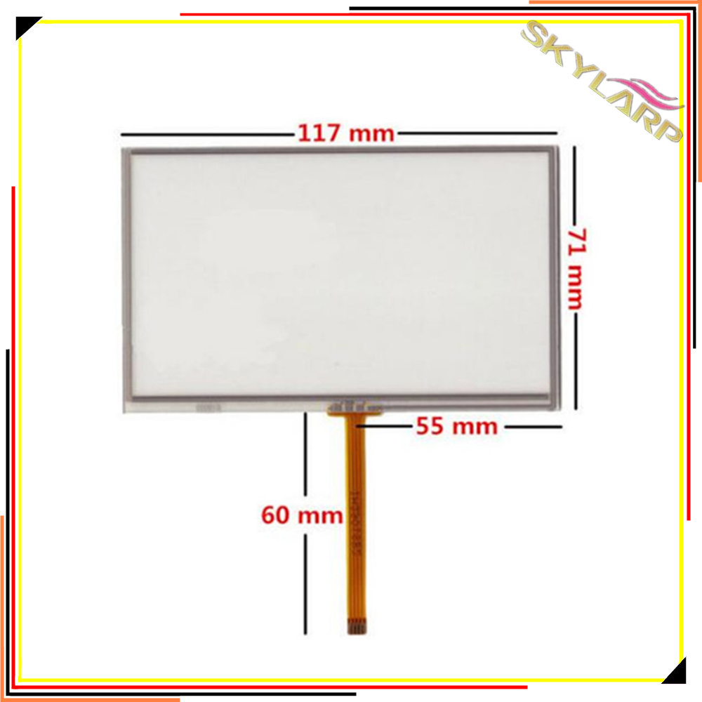 Original New 5 inch 4 Wire Touch Screen Glass Panel 117mm*71mm For GPS Compatible Car Navigators USE MP5 MP4 Free Shipping