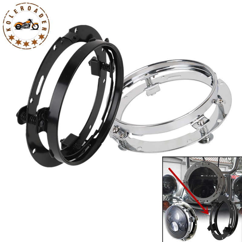 Steel 7 Round Headlight Mount Bracket Headlamp Mounting Ring For Harley Touring Road King Street Glide Softail Dyna MBG004-B rst 001 bk black aluminum rear seat mounting tab cover for harley sportster dyna softail street glide street bob touring