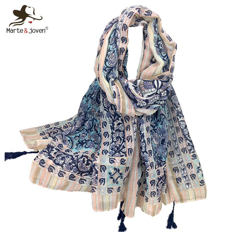 Marte&Joven Fashion Paisley Flower Print Purple   Scarf     Wraps   for Women Elegant Ladies Oversized Blanket   Scarves   Tippet Shawls