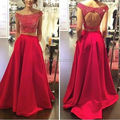 Lindo Satin Beaded Scoop A Line Red Two Piece Long Prom Dresses 2016 Vestidos De Gala Backless Court Train 510272