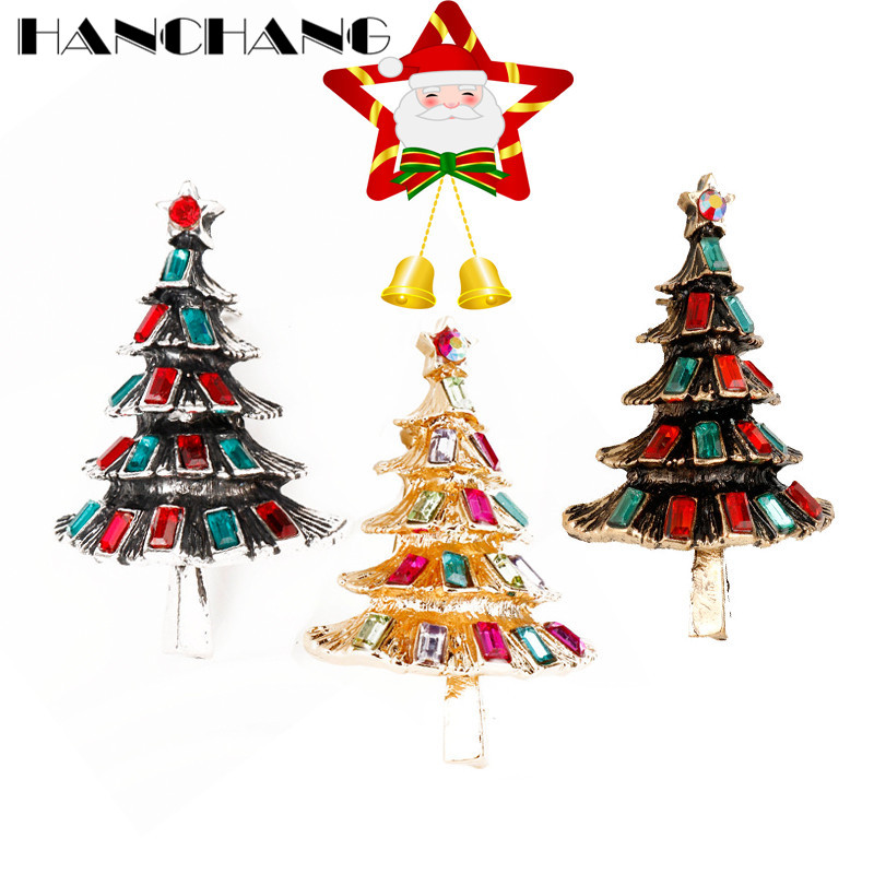 HANCHANG Accessories Christmas Tree Brooches for Women Heart Colorful Crystal Brooch Pins for Shirt/Dress Jewelry Festival Gifts