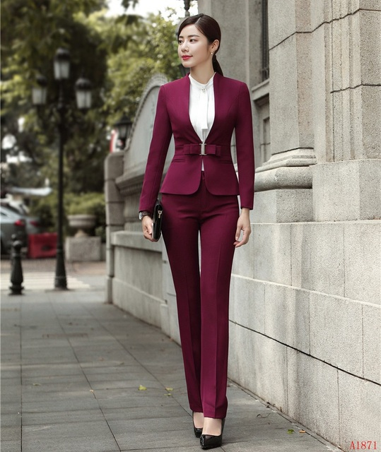 299fba66d61f Fashion Formal Women Business Suits with Pant and Jacket Set Ladies Wine Red  Blazer Office Uniform Design Styles