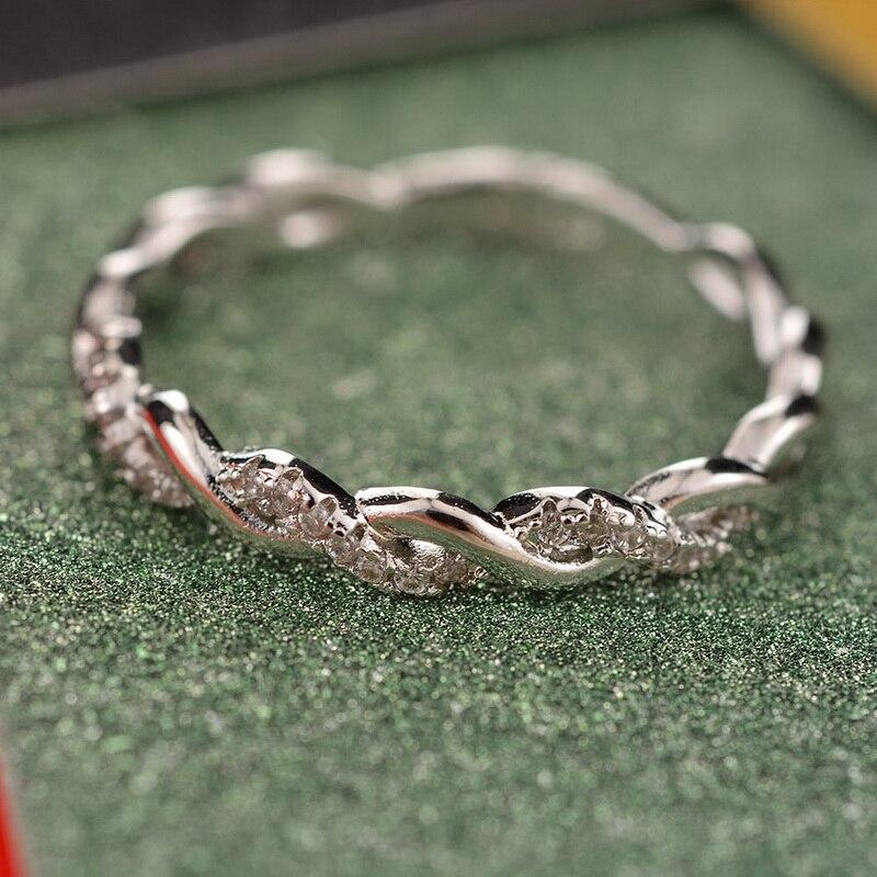 Funique 2018 Kleine Zirkon Ring Für Frauen Dünne Rose Gold Silber Twist Seil Ringe Stapeln Hochzeit Engagement Mini Ring Schmuck Schmuck & Zubehör