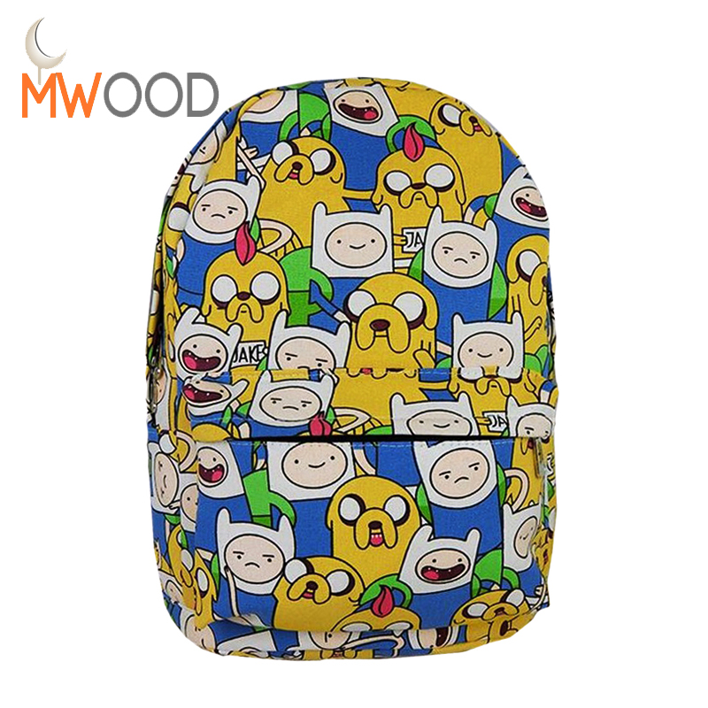 Cartoonn Adventure Time Canvas Backpack Anime Totoro Printing Student Boys & Girls School Bag Travel Shoulder Bag Sack Mochila anime tonari no totoro cosplay canvas shoulder bag female japanese and korean college wind travel backpack student bag graffiti