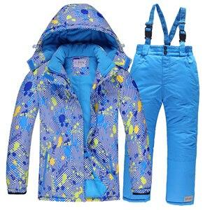 Image 3 - Лыжные костюмы для мальчиков 2020, флисовые куртки с капюшоном, комбинезоны, детские зимние комплекты, водонепроницаемый спортивный детский лыжный комплект одежды, ветрозащитная одежда