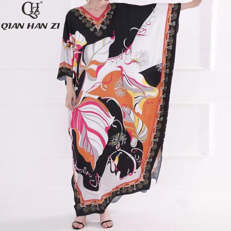 Qian Han Zi date 2019 Designer mode été Maxi robe col en v rétro motif impression arabe femmes chauve-souris longue lâche robe plus