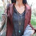 Простой Слоистых Ожерелье 3 Капли Бирюзовый камень Перо Ожерелья XL278