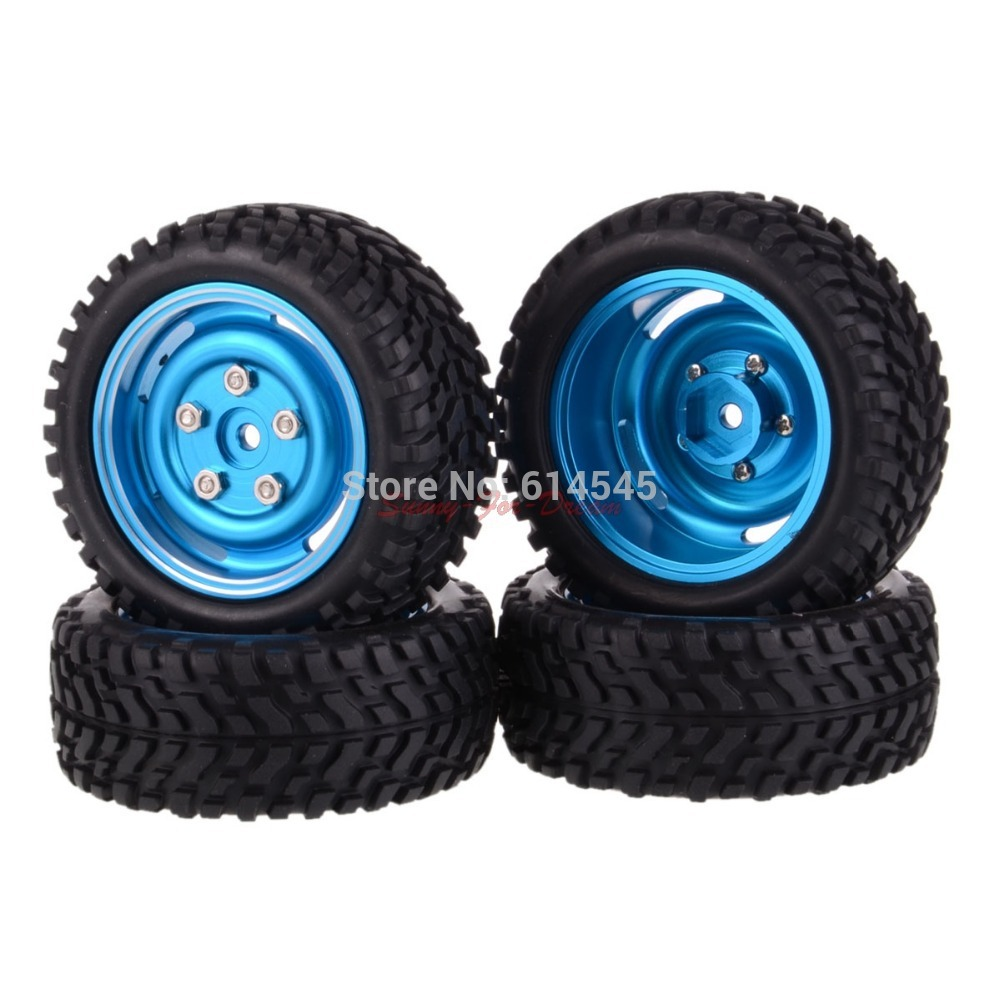 SET RC Rally 1:10 Car On Road OR 1:16 Off-Road Metal Wheel Rim & Tires 104B-7004 4pcs rubber rc racing tires car on road wheel rim fit for hsp hpi 1 10 high quality rc car part diameter 68mm tires