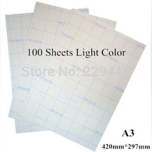 A3*100pc Fabric Transfer Paper Light Color Laser Heat Thermal Transfer Printing Paper With Heat Press Heat Transfers For Clothes