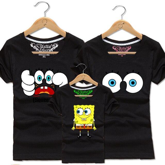 5029276c Men Women Family Matching Clothing Boys Girl Cotton T Shirt Kids SpongeBob Tee  Shirts Toddler Children