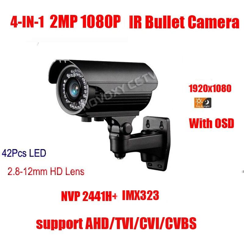 Free Shipping 1080P 2MP 4 In 1 AHD CVI TVI CVBS Swicth Waterproof bullet camera IR 42PCS LED 2.8-12MM vari-focal Lens Camera