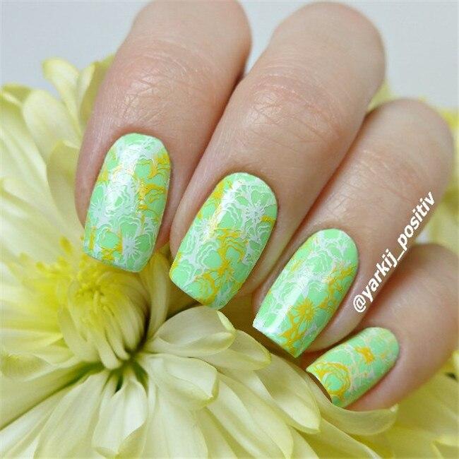 Born pretty nail stamping Placas cereza oriental Manicura sello ...