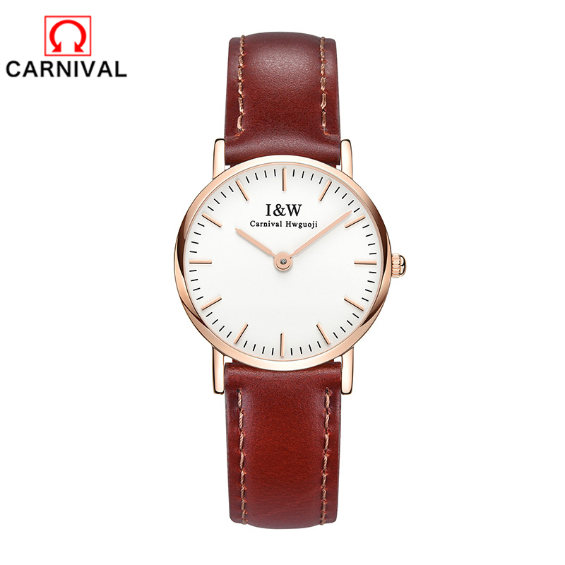 2018Carnival Ladies watch top brand luxury Automatic Mechanical Watch Casual leather sapphire waterproof Analog Wrist Watch