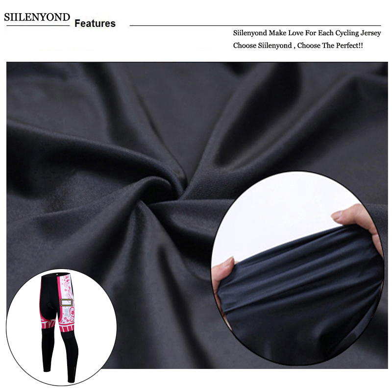 Siilenyond 2019 Women Pro Winter Thermal Cycling Pants Shockproof Cycling Trousers With 3D Gel Padded MTB Bike Cycling Tights 7