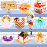 9PCS Pretend Play Kitchen Food Toys Soft Dessert Playset 3D Fridge Refrigerator Magnets Stickers Hamburger Ice Cream for Kids
