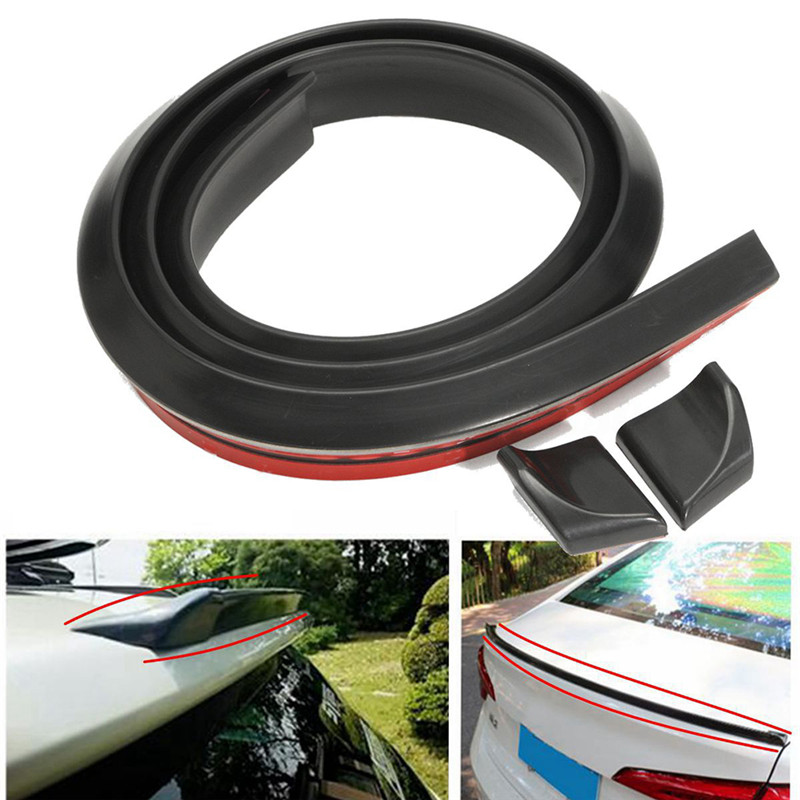 4.9ft/1.5M Matte Black Auto Car Rear Roof Trunk Splitter <font><b>Spoiler</b></font> Trim Protector image