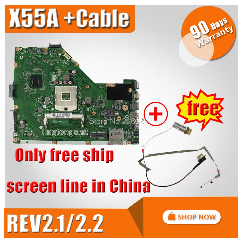 SAMXINNO Original for ASUS X55A laptop motherboard REV 2.1,2.2 100% tested perfect integrated mainboard for asus x55u integrated amd laptop motherboard mainboard 100