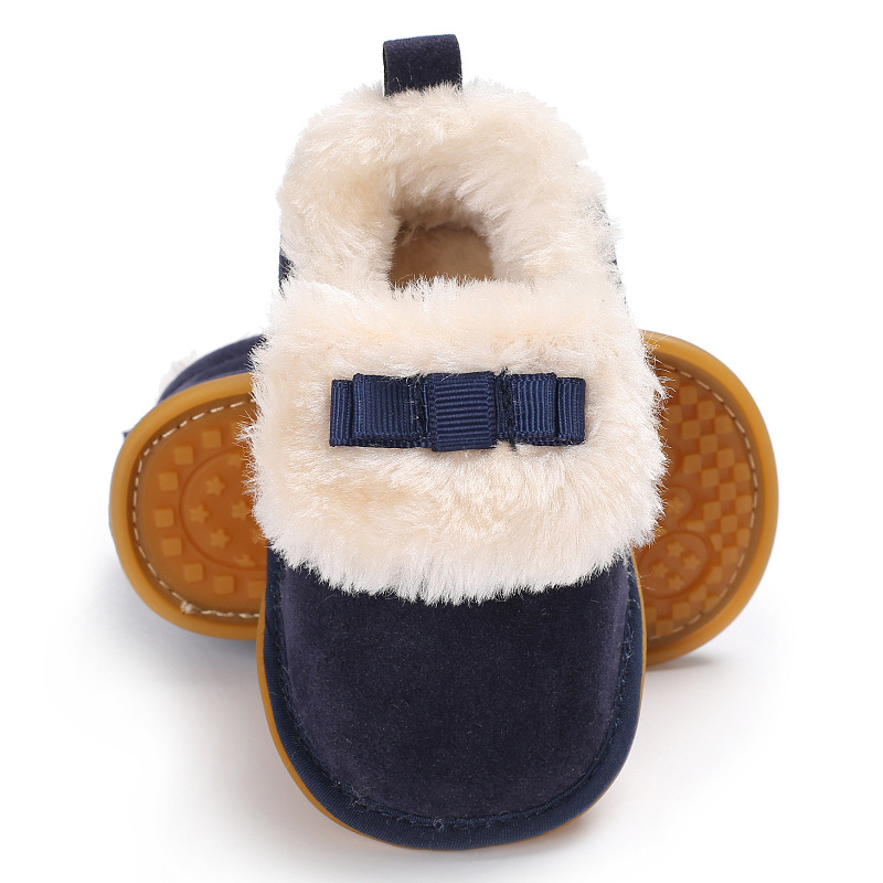 Hot Sell Hard Sole Super Warm Winter Boots With Fur Baby Moccasins Shoes Baby Girls Boys Boots Solid Baby Boots