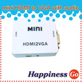 BrankBass 10 pcs HDMI to1080P 60Hz VGA Output mini HDMI to VGA with audio for PC laptop to HDTV Projector