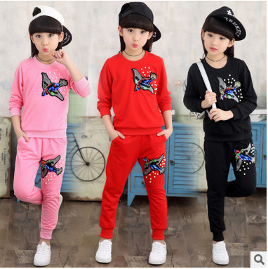 Kids spring 2017 new big virgin girls sports suit baby autumn two-piece casual long-sleeved clothes for girls 3-12 years old 3 spring new kids girls spring dress embroidered two piece suit