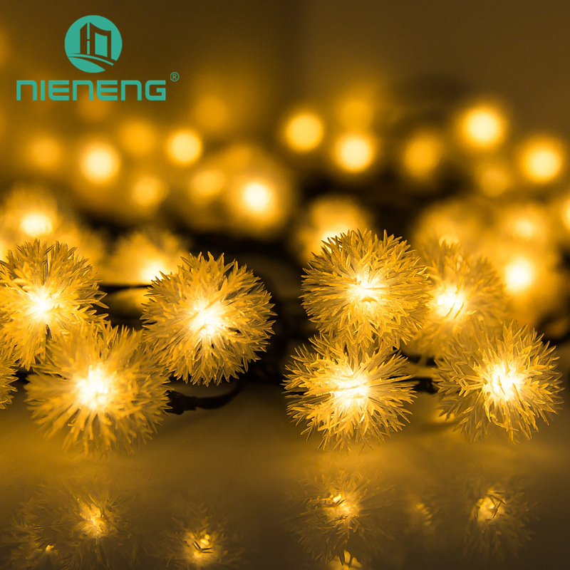 цена на Nieneng Solar Powered Lamp String Lights Beads Christmas Party Outdoor Garden Decoration Cotton Ball Led Lamp Lantern ICD90083