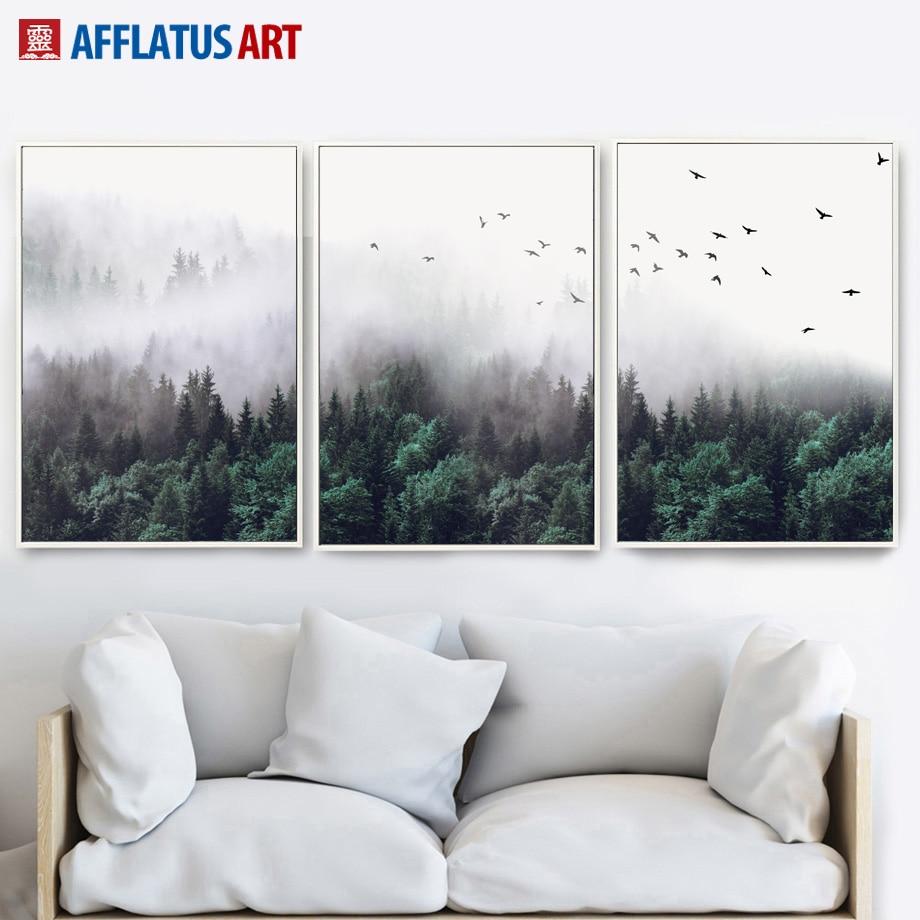 Kunst aan de muur canvas schilderij wolk bos landschap schilderij - Huisdecoratie