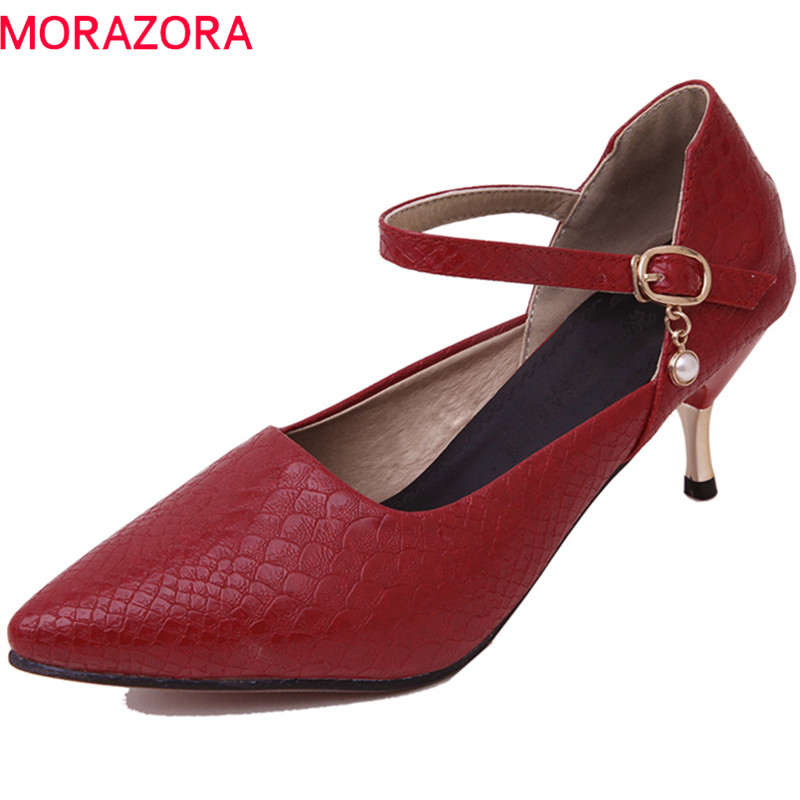 MORAZORA 2018 new arrive women pumps spring summer simple drees shoes fashion buckle shallow pointed toe high heels shoes