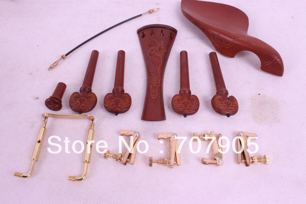 New 4/4 violin parts jujube,tuner peg chinrest tailpiece tail gut endpin #W11-1 new 5 set 4 4 violin parts ebony tailpiece peg chinrest accessories e16