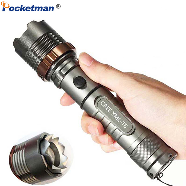 Pocketman 8000LM XM-L T6 LED Flashlight Rechargeable LED Torch Powerful Lantern with 18650/AAA Battery Direct Charge