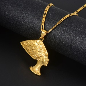 Anniyo Alte Ägyptische Königin Anhänger Halsketten Frauen Gold Farbe Ägypten Nofretete Kopf Porträt Afrikanische Schmuck #191906