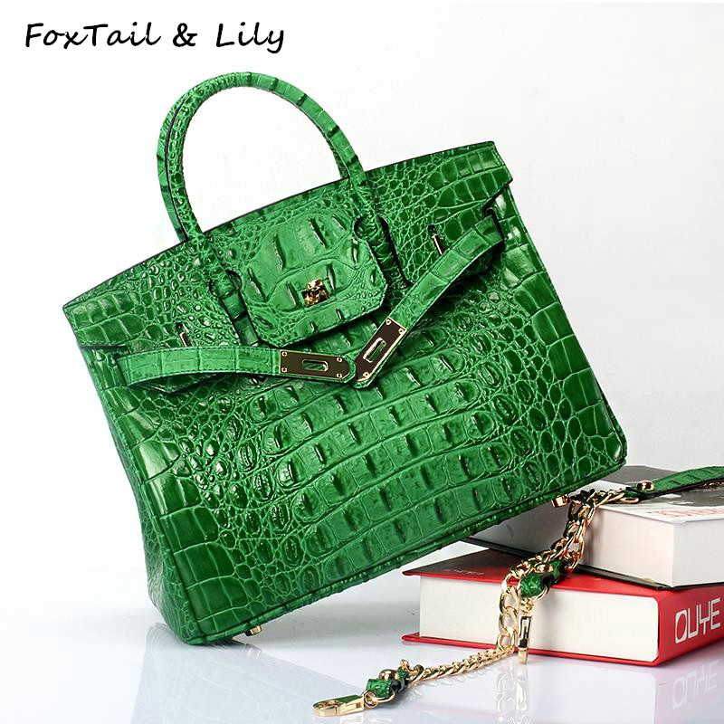 FoxTail & Lily Famous Designer Platinum Handbags High Quality Crocodile Pattern Genuine Leather Women Chain Shoulder Bags