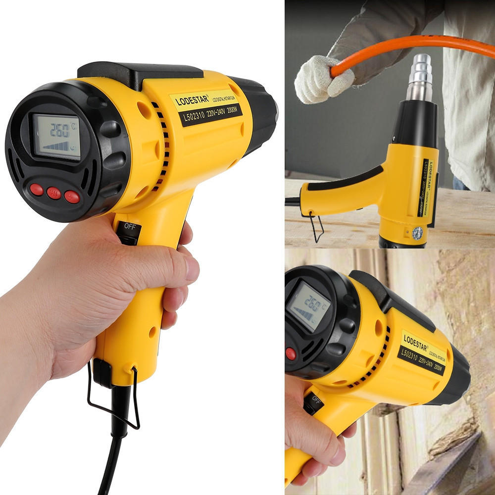 2000W AC220 LODESTAR Digital Electric Hot Air Gun Temperature-controlled Heat IC SMD Quality Welding Tools Adjustable + Nozzle 220v 50hz 1600w digital electric hot air gun temperature controlled heat ic smd quality welding tools adjustable air flow gun