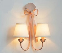 European Style Wrought Iron Pink Bow Tie Wall Lamps American Princess Room Bedroom French North European