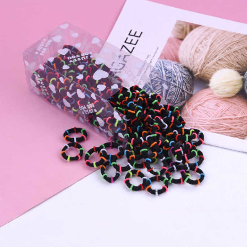 100PCS/Lot 3.0CM Children Cute Small Ring Rubber Bands Tie Gum Ponytail Holder For Girls Kid Hair Braider Hair Styling Tools