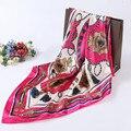 Высококачественная имитация шелковые шарфы 90*90 СМ большой печати атласный шарф женский платок шарфы красивые шали ретро фамилия